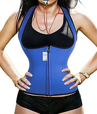 hot sweat shaper waist-trimmer compression slimming shirt for women men (S, Blue)