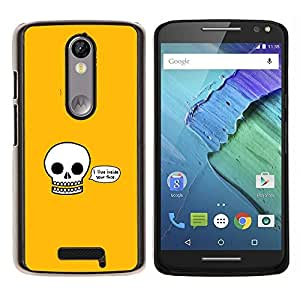 "Be-Star Único Patrón Plástico Duro Fundas Cover Cubre Hard Case Cover Para Motorola Droid Turbo 2 / Moto X Force ( Vivo el interior de su cara - Cráneo divertido"" )"
