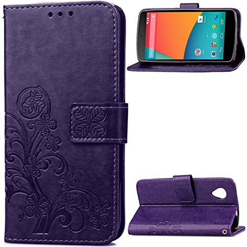 Nexus 5 Case,Gift_Source [Card Slot] [Kickstand Feature] Premium Vintage Emboss Flower PU Leather Wallet Case Folio Flip Case with Wrist Strap for LG Google Nexus 5 [Purple] (Nexus 5 Phone Case Purple)