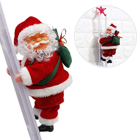 Kylewo Papá Noel, Escalera Eléctrica Papá Noel Escalera Papá Noel Navidad Estatuilla Adorno Decoración Regalos: Amazon.es: Hogar