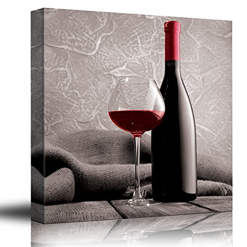 Merlot Shiraz Wine - wall26 Romance Series - Black White and red Color pop - Deep red Wine - Cabernet - Merlot - Shiraz - Bottle and Glass - Canvas Art Home Decor - 16x16 inches