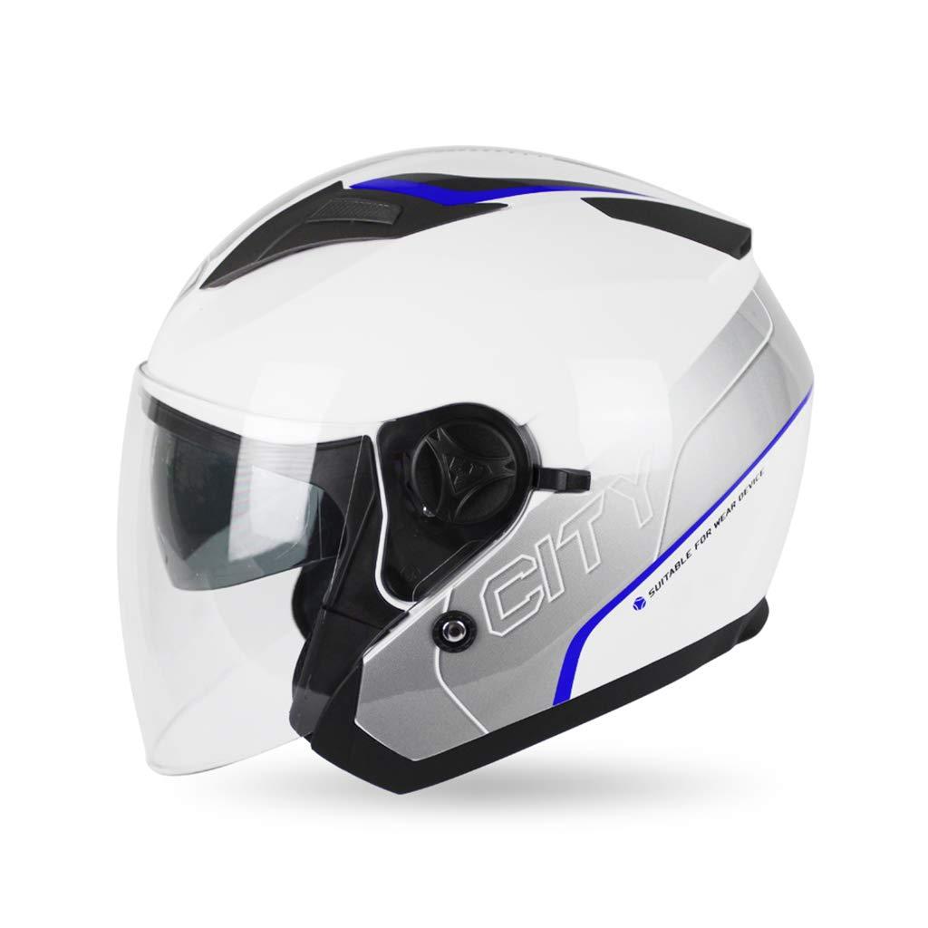 日本人気超絶の オートバイヘルメット、アウトドアハーフオーバーレイヘルメットダブルレンズメンズウィメンズオールラウンドサイクリングセーフティキャップペダル電気自動車#1 and B07NJGHFWC Blue and white XL Blue Blue and white white XL, エンジェルライブ(Angel Live):5e6acb70 --- a0267596.xsph.ru