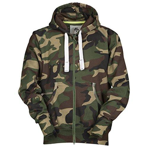 Herren Sweatjacke Winter Zip Hoodie Kapuzenjacke Camouflage, Größe:XXL;Farbe:Grün
