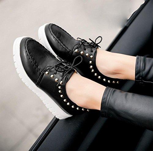 La signora della molla è aumentato femminile pizzo scarpe rivetti sceglie i pattini scarpe casual donna scarpe rotonda e piatta piano delle scarpe tacco crosta spessa focaccina scarpe , US7.5 / EU38 /