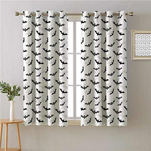 Jinguizi Goth Grommet Curtain Kitchen Window,Halloween Concept Silhouette of Flying Bats and Shadows Pattern,Window Darkening Curtains,63W x 72L -