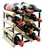 PAG 12-Bottle Wooden Wine Rack Stackable Storage Stand Bottles Holder   Display Shelf, Natural