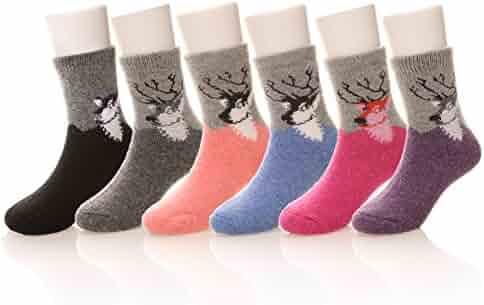Eocom 6 Pairs Children's Winter Warm Wool Socks For Kids Boys Girls Random Color