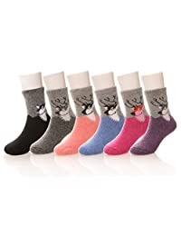 Eocom 6 Pairs Children's Winter Warm Wool Socks Kids Boys Girls Socks