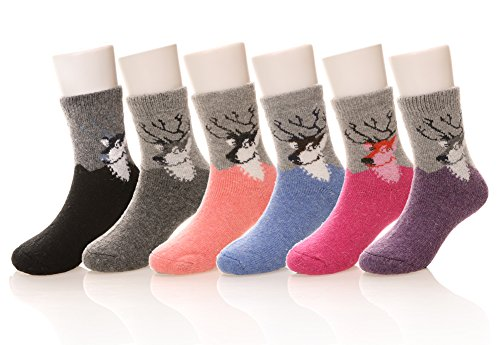 Eocom 6 Pairs Children's Winter Warm Wool Socks For Kids Boys Girls Random Color (8-12 Years, Deer)
