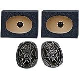 2) Kicker DS693 6x9 280W 3-Way Car Speakers + 2) QTW6X9 Angled 6x9 Speaker Box