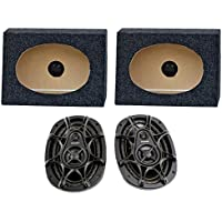 2) Kicker DS693 6x9 280W 3-Way Car Speakers + 2) QTW6X9 Angled 6x9 Speaker Box