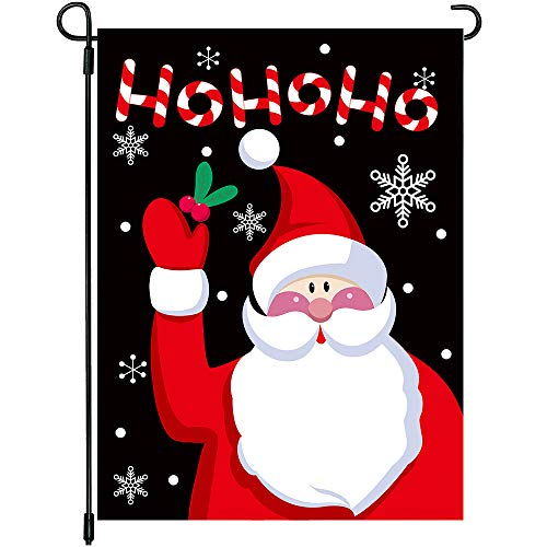 Ho Santa - MIDOLO Christmas Burlap Welcome Garden House Flags with Ho Ho Ho Santa for Merry Christmas Holiday Decorations, Indoor/Outdoor Yard Flags, Double-Sided, Gift for Kids Children,12 X 18 Inch