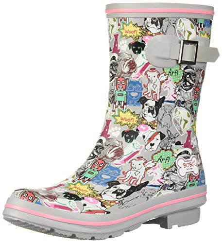 Skechers BOBS Women's Check-Mixed Media Print rain Boot, Gym, 9 M US