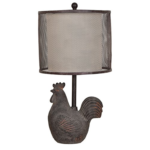 Crestview Collection Rusty Rooster Black Metal Mesh Table Lamp from Crestview Collection