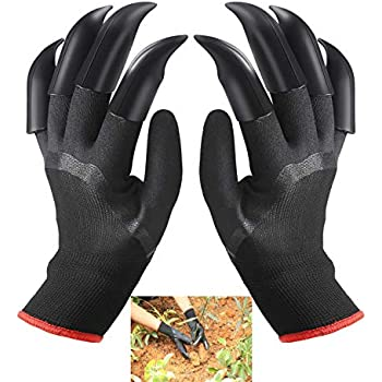 FX Garden Gloves with 8 Fingertips Claws Gardening Full Size black and red