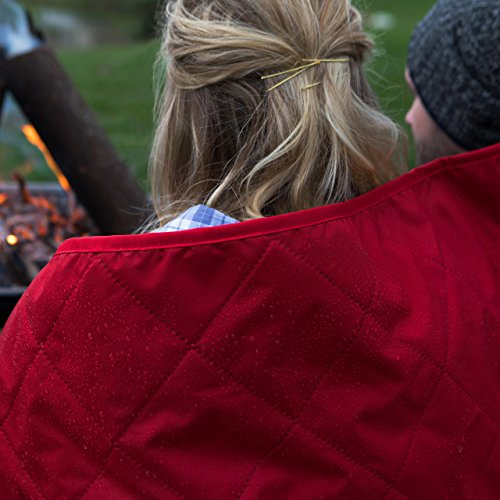 Premium Large Water Resistant, Windproof, Quilted Fleece Stadium Blanket, Machine Washable, Camping, Picnic & Outdoor, Beach, 82 x 55 inches (red/grey)