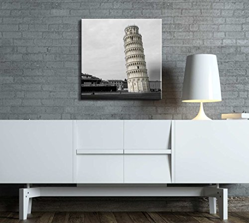 Black and White Photograph of Rome with Pop of Color on The Leaning Tower of Pisa