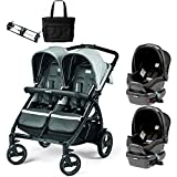 Peg Perego - Book for Two Atmosphere Light Grey Dark Grey Double Stroller Twin Travel System with Diaper Bag