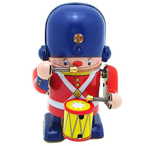 (Off the Wall Toys Little Drummer TIn Toy Soldier Metal Winds up Toy 3.3