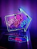 Desung 17'' Girls Girls Girls Arrow Custom Design Decorated Acrylic Panel Handmade Man Cave Neon Sign Light UT11
