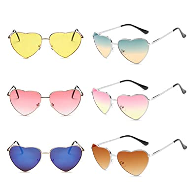 5da1766081a Multi Colors Tinted Gradient Mirrored Lens Trendy Heart Shape Sunglasses  Collection for Women Girls