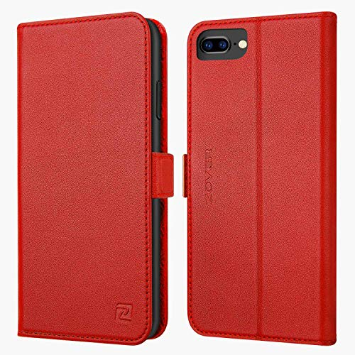 iPhone 8 Plus case iPhone 7 Plus case ZOVER Genuine Leather Wallet Case with RFID Blocking Kickstand Feature Card Slots & ID Holder and Magnetic Clasps for iPhone 7 Plus iPhone 8 Plus Red ()