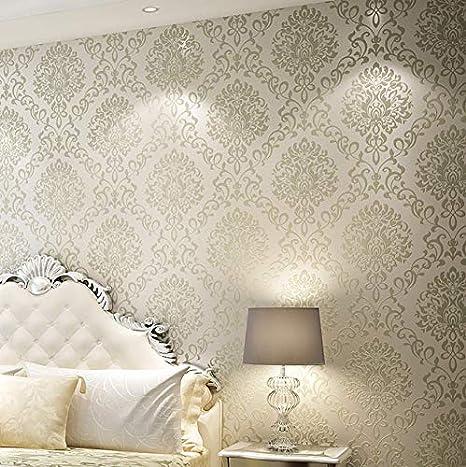 Wallpaper Rolls Papel De Parede Damascus Gold Creamy-White ...