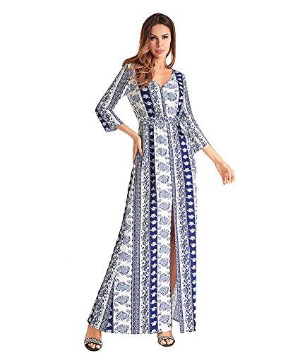 antaina Patrones Azules Imprimir Manga Larga de Bohemia Mujeres Divididas Vestido de Playa Con Cinturón: Amazon.es: Ropa y accesorios