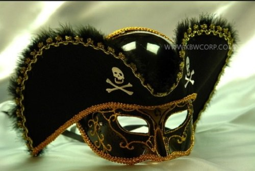 Pirate Masks Halloween (FABULUOS Pirate Half Face Eye Masquerade Halloween Costume Party M206 (M3100-Black))