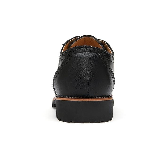 HILOTU Punta de ala Brogue Oxford Zapatos de Vestir de Cuero con Cordones para Hombre Hechos a Mano Zapatos de Negocios Formal clásico cómodo (Color : Negro ...