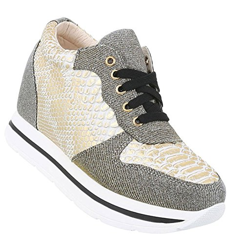 Schuhcity24 Damen Sneakers  Sneaker Wedges  Keilabsatz Schuhe  Wedge Sportschuhe  Basketball Style  Freizeitschuhe