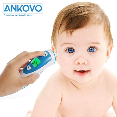 Large Product Image of ANKOVO Digital Medical Infrared Forehead and Ear Thermometer for Baby ,Kids and Adults with Fever Indicator CE and FDA Approved
