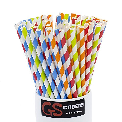 Orange Red Blue Green 4 Colors Mixed Drinking Paper Straws for Wedding Party Biodegradable Rainbow Straw Box of 100 -