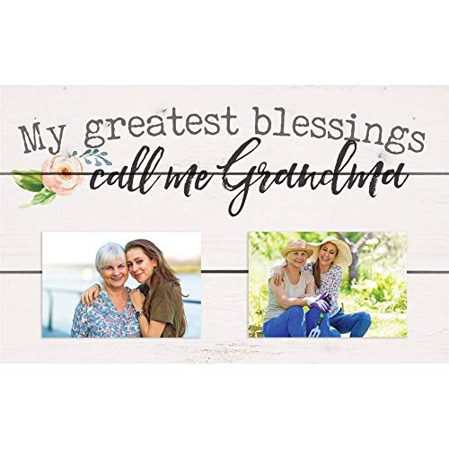 P. Graham Dunn Blessings Call Me Grandma Floral 17 x 11 Pine Wood Wall and Tabletop Photo Frame