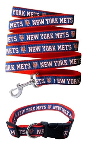 New York Mets Dog Collar - New York Mets Nylon Collar and Matching Leash for Pets (MLB Official by Pets First) Size Large