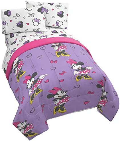 Jay Franco Disney Minnie Mouse Purple Love Twin Comforter – Super Soft Kids Reversible Bedding – Fade Resistant Polyester Microfiber Fill Official Disney Product