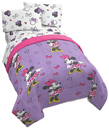 Jay Franco Disney Minnie Mouse Purple Love 4 Piece Twin Bed Set - Includes Reversible Comforter & Sheet Set - Super Soft Fade Resistant Polyester - (Official Disney Product) ()