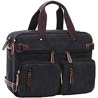 Berchirly Canvas Backpack Messenger Laptop Bag (Black)