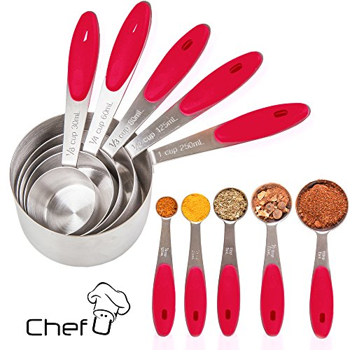 Measuring Cups and Measuring Spoons set by Chef U | Stainless Steel Measuring Cups and Spoons Set of 10 | Liquid Measuring Cup or Dry Measuring Cup Set | Stainless Measuring Cups | Nesting (Red)