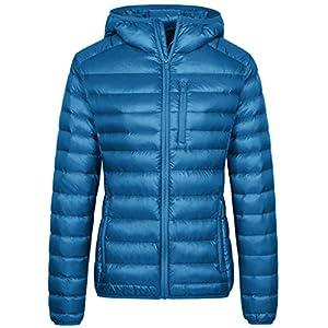 Wantdo Women's Lightweight Packable Puffer Down Outwear(Acid Blue, Small)