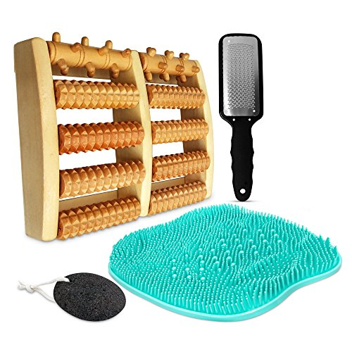 Atlas Health All-In-One Home Spa Pedicure Set For Women – Remove Callouses & Dead Skin, Alleviate Pain & Improve Circulation, Bundle Includes Foot File, Wooden Foot Roller, Massage Pad & - Pad Foot Spa