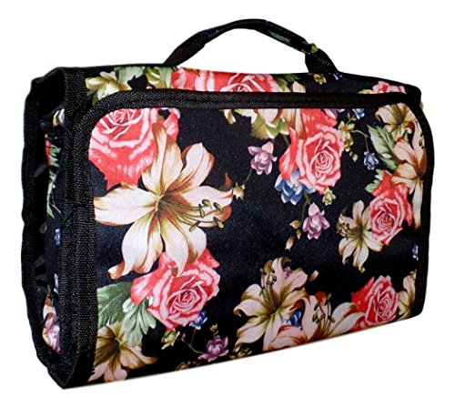 Hanging Toiletry Cosmetic Organizer Bag - Roll up for Storage Travel Back to School (Rose Lily)