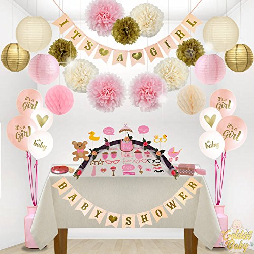 Girl Baby Shower Decorations - Bundle (80PC) Includes - Garland bunting banner +30PC photo booth props +8PC balloons and Decorations Set with in Ziplock Bag