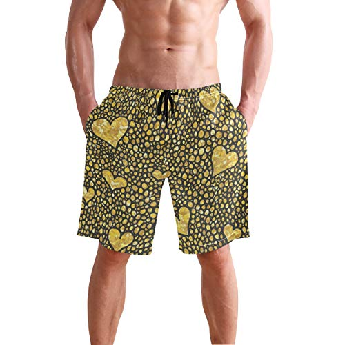 Mens Shorts Gold Glitter Brush Hearts and Dots Gym Short Sports Trousers for Boys