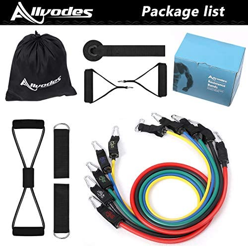Allvodes Resistance Bands Set 12pcs, Workout Bands, Exercise Bands Set with Door Anchor, Handles and Ankle Straps, Stackable Up to 150 lbs, for Resistance Training, Physical Therapy, Home Workouts