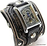 Wide Leather Watch Band, Distressed Black leather watch, Rectangular Steampunk wrist watch, Leather Watch Cuff, Vintage leather watch, Bracelet watch, Skeleton watch, Men's gift