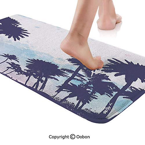 (Apartment Decor Rug Runner,Miami South American Plant Forest Tropic Natural Palm Trees Art Print,Plush Door Carpet Floor Kitchen Decor Mat with Non Slip Backing,48 X 17.7 Inches,Blue and)