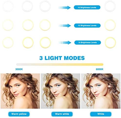 """12"""" LED Selfie Ring Light with Tripod Stand & Cellphone Holder for Live Stream/Makeup/YouTube Video, Dimmable Beauty Ringlight for iPhone Android Phone, Color Temperature 3000K-6000K, 168Bulbs, Remote"""