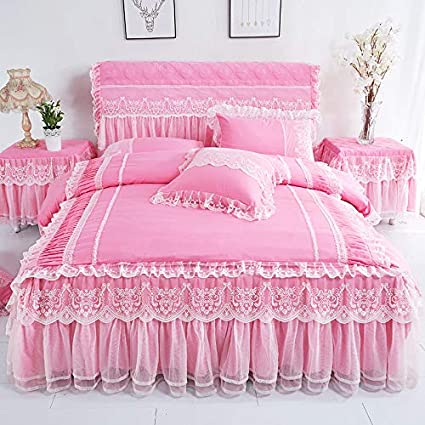 Amazon.com: WHoIppRmOrella Lace Bedding Bed Skirt Pillowcases Pink ...