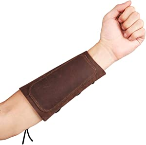 KRATARC Archery Leather Adjustable Arm Guard for Hunting Shooting Target Practice Bow
